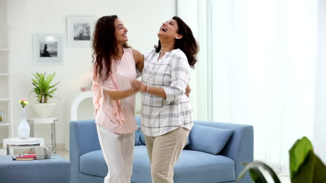 adult woman dancing with her daughter, delhi, india - indian mom stock videos & royalty-free footage