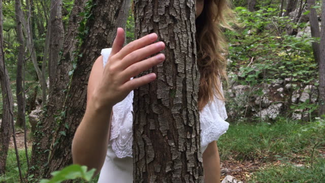 adult woman tree hugging in forest - tree hugging stock videos & royalty-free footage