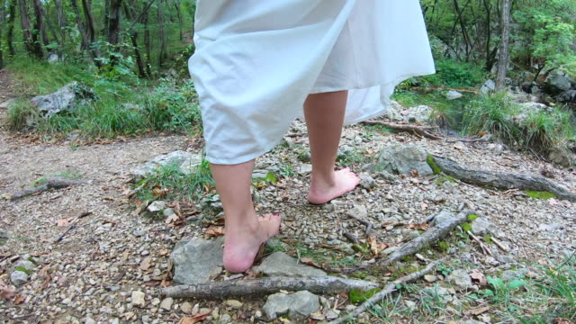 adult woman walking barefoot in forest - barefoot stock videos & royalty-free footage