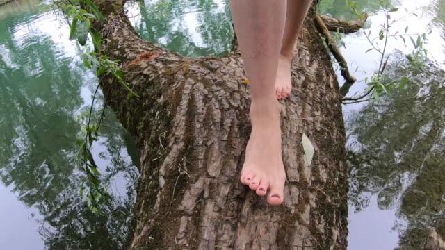erwachsene frau zu fuß barfuß auf baumstamm über wasser - barefoot stock-videos und b-roll-filmmaterial