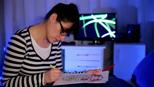 adult women coloring book at home