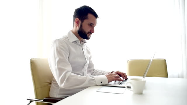 adult young businessman  in the office - beard stock videos & royalty-free footage