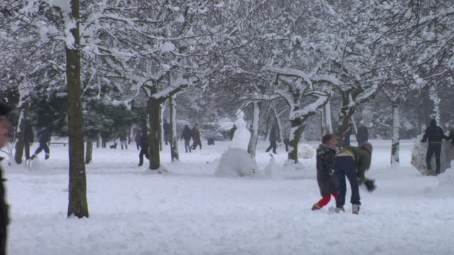 ws adults and children playing in snow, throwing snowballs in victoria park, london - victoria park london stock videos & royalty-free footage
