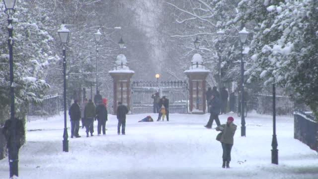 vidéos et rushes de ws adults and children walking and playing in snow by park gate / victoria park, london - froid