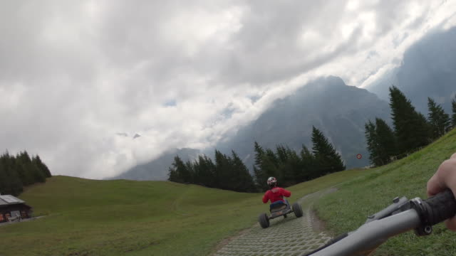 adults descend mountain track on go carts, through alpine meadow - 65 69 anni video stock e b–roll