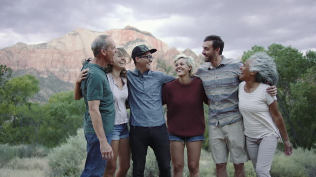 4k uhd:  adults of all ages enjoying southern utah - multi ethnic group stock videos & royalty-free footage