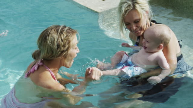 ms adults playing with baby boy (6-11 months) in pool / cedar hills, utah, usa - 6 11 months stock videos & royalty-free footage