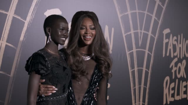 slomo adut akech and naomi campbell at fashion for relief 2019 arrivals at british museum on september 14 2019 in london england - naomi campbell stock videos & royalty-free footage