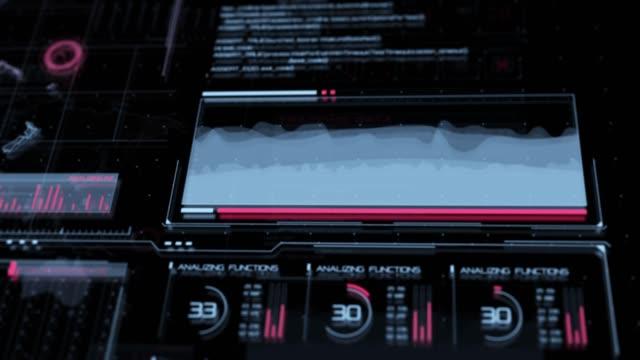 advance motion graphic futuristic user interface head up display - head up display parte di veicolo video stock e b–roll