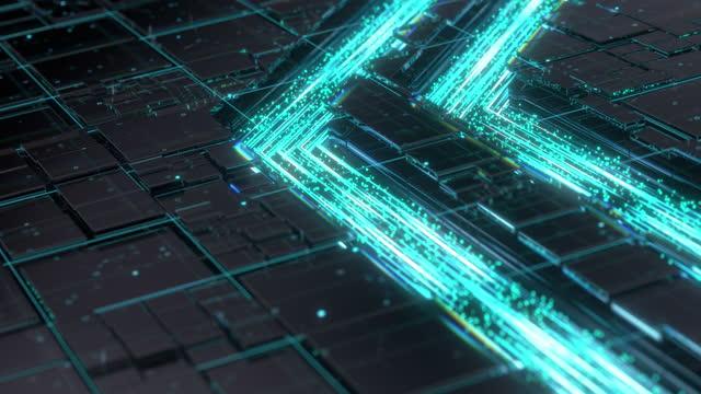 先端技術概念可視化:回路基板cpuプロセッサマイクロチップニューラルネットワーキングとクラウドコンピューティングデータの人工知能化を開始します。デジタル回線移動データ - 中央演算処理装置点の映像素材/bロール