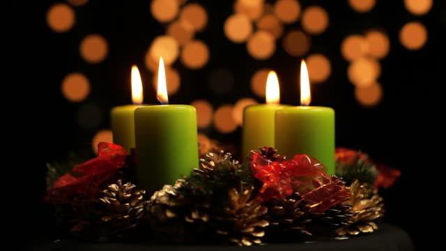 advent wreath adventskranz - wreath stock videos & royalty-free footage