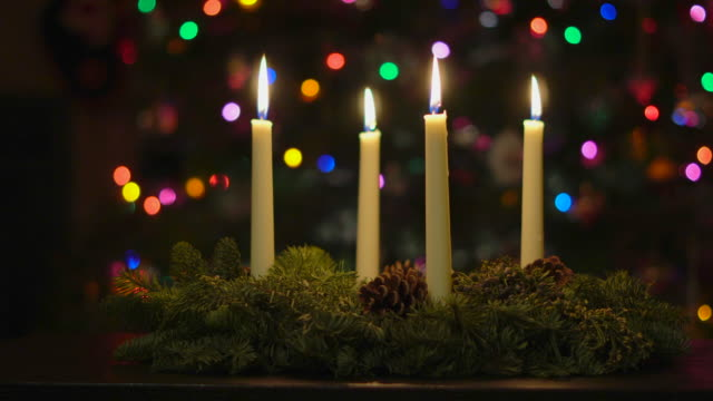 advent wreath - white candles - advent stock videos & royalty-free footage