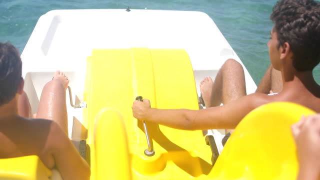 adventure on the pedal boat in the summer. - pedal boat stock videos and b-roll footage