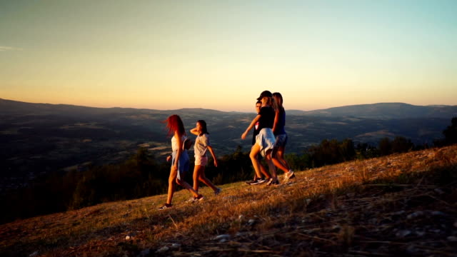 adventure on top of the mountain - young women stock videos & royalty-free footage
