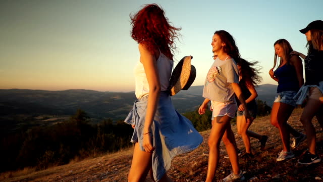 adventure on top of the mountain - friendship stock videos & royalty-free footage