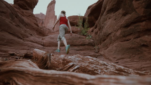 adventures in the southwest usa, woman explores nature - moab utah stock videos & royalty-free footage