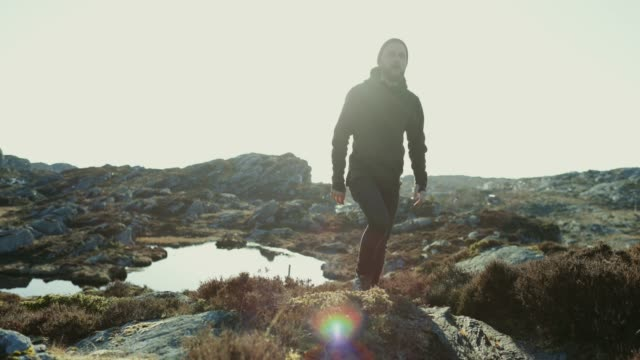 adventures of a man hiking on the mountain - scandinavia stock videos & royalty-free footage