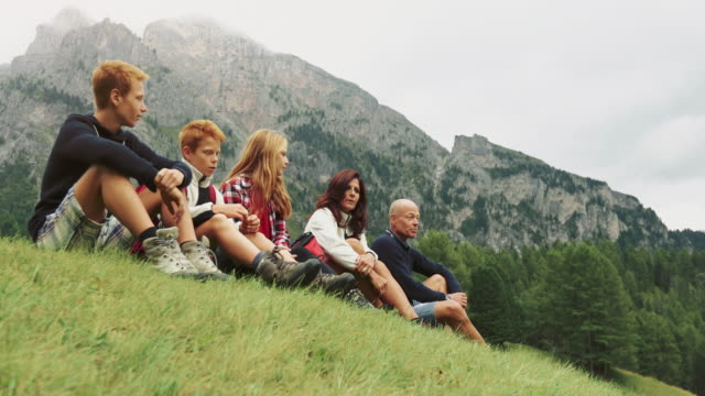 adventures on the dolomites: family together - redhead stock videos and b-roll footage