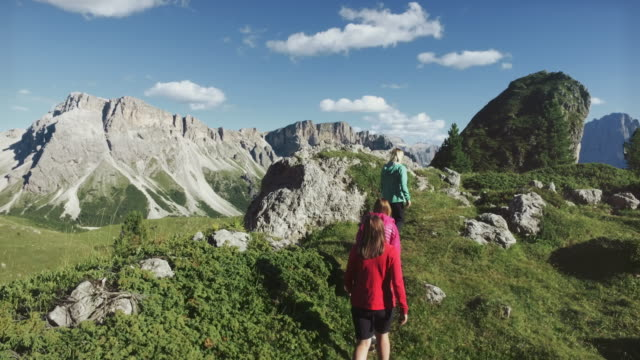 adventures on the dolomites: group of women hiking - hiking pole stock videos & royalty-free footage