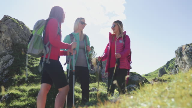 adventures on the dolomites: group of women hiking - dolomites stock videos & royalty-free footage
