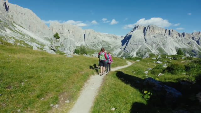 adventures on the dolomites: group of women together - unesco world heritage site stock videos & royalty-free footage