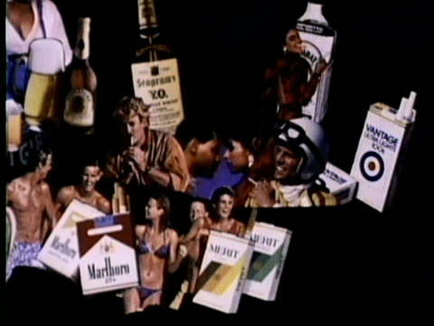 1986 MONTAGE Advertisement against smoking cigarettes and drinking alcohol, USA, AUDIO