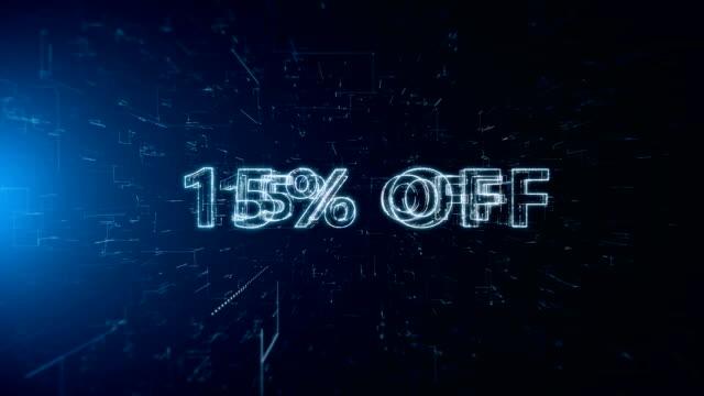vídeos y material grabado en eventos de stock de texto del anuncio banner 15% off - capital letter