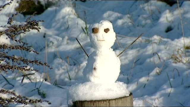 vídeos de stock e filmes b-roll de advice to build snowmen to prevent flooding withdrawn england ext people piling up snow with snow shovel snowman with blue scarf snowman on post snow... - bare tree