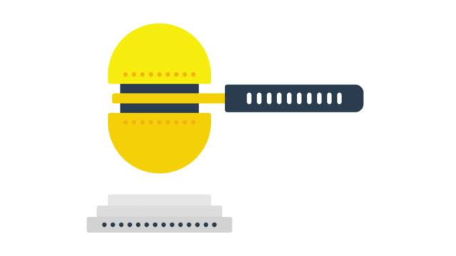 stockvideo's en b-roll-footage met advocacy glitch effect icoon animatie met alpha - oordeel juridische procedure
