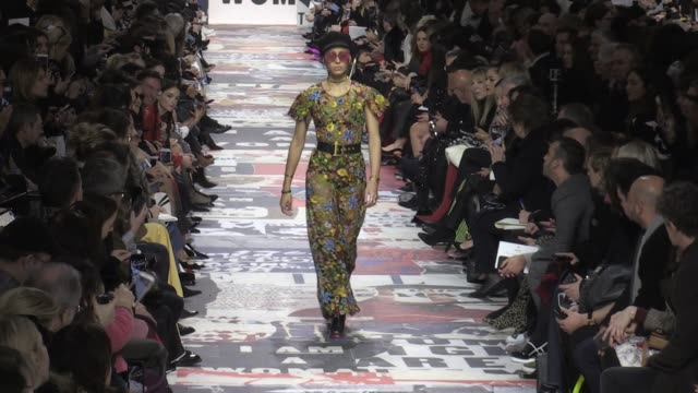 Adwoa Aboah her fellow models and designer on the runway for the Dior Ready to Wear Fall Winter 2018 Fashion Show in Paris Paris France on Tuesday...