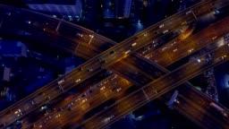 Aeiral scene of Multiple lane highway traffic in rush hour, 4k video
