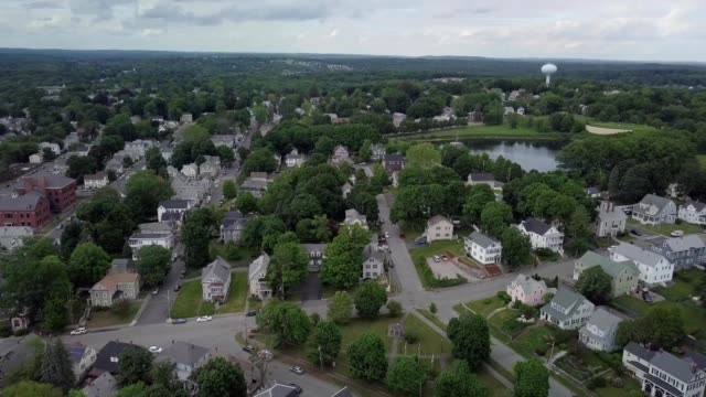 aeiral view of a neighborhood in lowell massachusetts - lowell stock videos & royalty-free footage