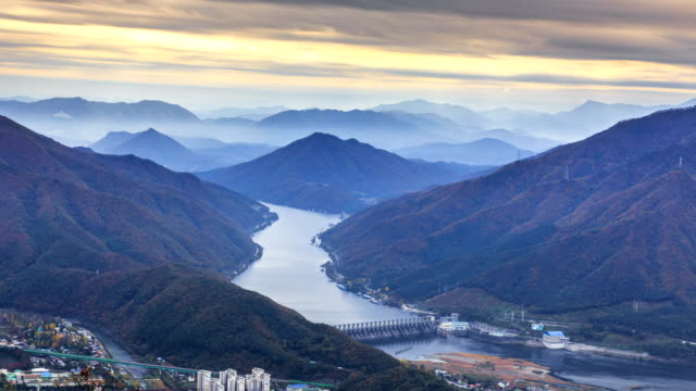 Aeiral view of Bukhangang North River and Cheongpyeong Dam at Sunset (Famous location in Korea)