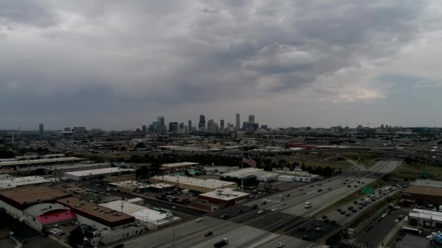 aeiral view of downtown denver colorado from the interstate 25 just outside - dronebase stock videos and b-roll footage