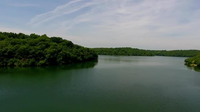 aeiral view over wyandotte county lake in kansas city kansas - kansas stock videos & royalty-free footage