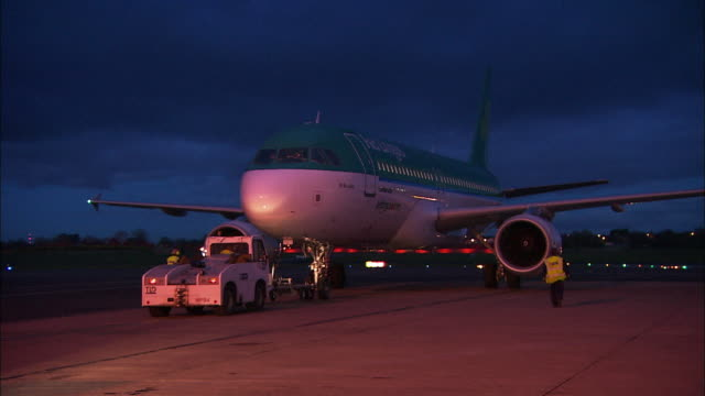 Aer Lingus aeroplane pulls out to airport runway, Northern Ireland