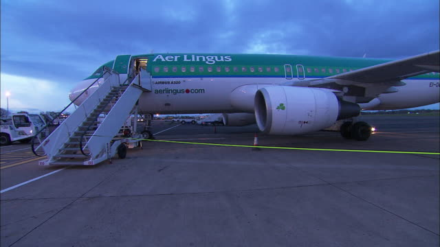 Aer Lingus aeroplane with steps, stationary, Northern Ireland