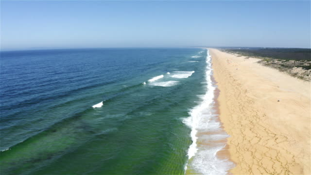 aereal view of a beach in portugal - portugal stock videos & royalty-free footage