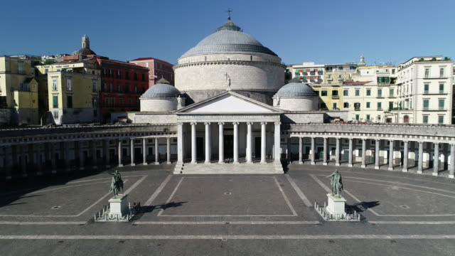 aereal view of naples and the plebiscito square. 4k - monument stock videos & royalty-free footage