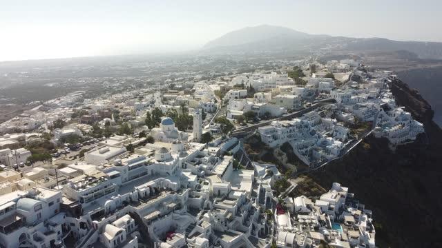 aereal view of santorini - santorini stock videos & royalty-free footage