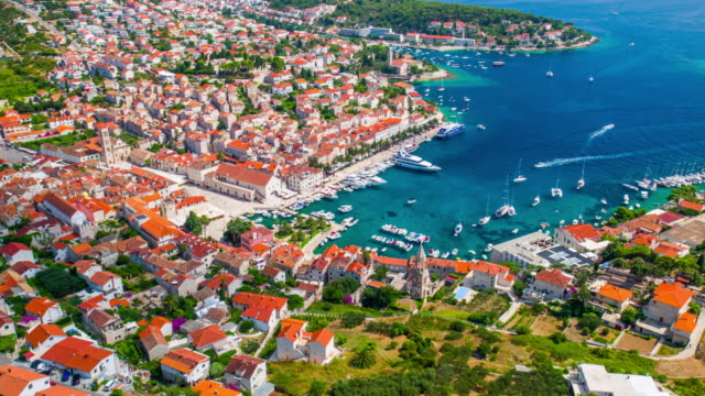 Aeria: Hvar town at the Adriatic Sea in Croatia