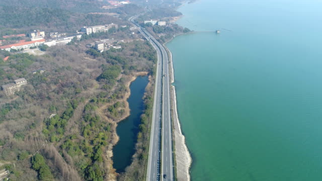 Aerial 18 bay in taihu lake, wuxi, coast of taihu lake