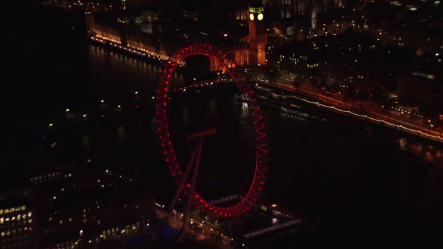 aerial 180° looking down on london eye. - millennium wheel stock videos and b-roll footage