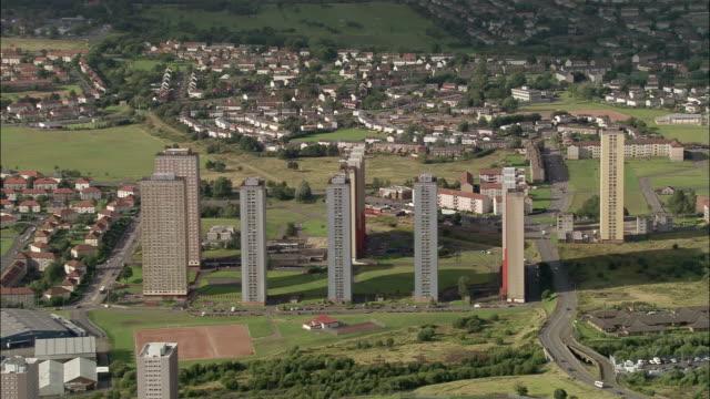 Aerial 1970s-era slab tower blocks on east side of Glasgow, Scotland
