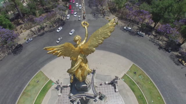 Aerial 360 shot of the Angel de la Independencia in Mexico City