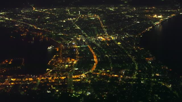 aerial 4k night shot over japan - hokkaido stock videos & royalty-free footage