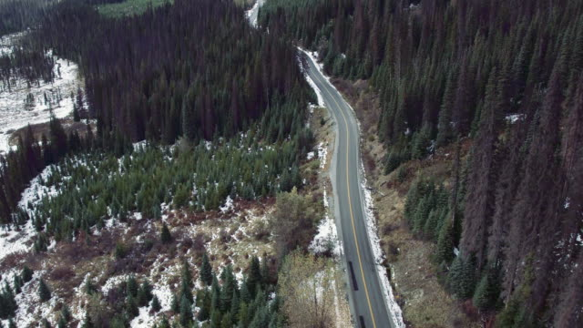 Aerial 4K: Road through Forest with Patches of Snow