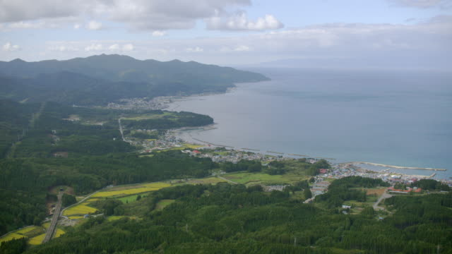 aerial 4k shot over japan - aomori prefecture stock videos & royalty-free footage