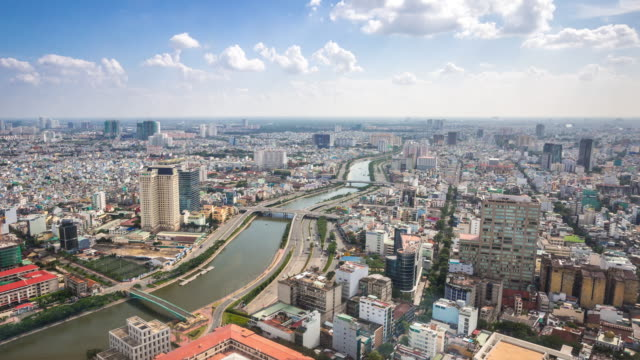 aerial 4k time-lapse: ho chi minh viatnam - ho chi minh city stock videos & royalty-free footage
