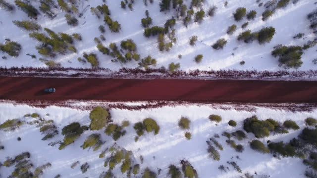 aerial 4k: top-down shot of a car passing through the frame horizontally - top video stock e b–roll